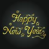 Diseño del cartel o de la bandera para la celebración de la Feliz Año Nuevo Imágenes de archivo libres de regalías