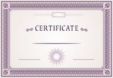 Diseño del certificado Fotografía de archivo