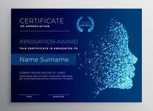 Diseño del certificado del premio de la innovación con la cara de la partícula ilustración del vector