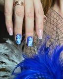 Diseño del clavo: La manicura francesa y subió en la técnica de la pintura china en el azul Imagen de archivo libre de regalías