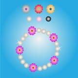 Diseño del color de la flor y de la perla de la pulsera Imagenes de archivo