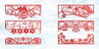 Diseño del corte del laser por la Navidad y el Año Nuevo Corte de la silueta Un sistema de la plantilla de la esquina y de elemen stock de ilustración