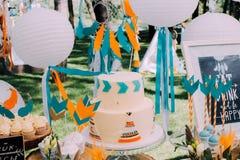 Diseño del día de fiesta para el día de fiesta de los niños en estilo del boho Foto de archivo