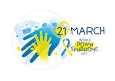 Diseño del día de Síndrome de Down del mundo en el fondo blanco Foto de archivo