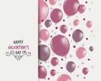 Diseño del día de tarjetas del día de San Valentín con Rose Balloons stock de ilustración