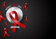 Diseño del Día Mundial del Sida de cinta y de mundo rojos Fotos de archivo