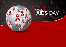 Diseño del Día Mundial del Sida de cinta y de mundo rojos Foto de archivo