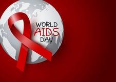 Diseño del Día Mundial del Sida de cinta y de mundo rojos en fondo rojo Imagen de archivo libre de regalías