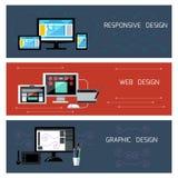 Diseño del diseño web, responsivo y gráfico Fotografía de archivo libre de regalías