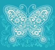 Diseño del Doodle de la mariposa de Mehndi Paisley de la alheña Imagen de archivo