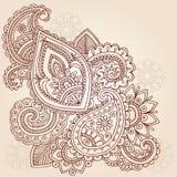 Diseño del Doodle del tatuaje de Mehndi Paisley de la alheña Foto de archivo libre de regalías