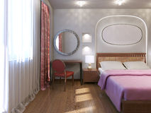 Diseño del dormitorio del hotel del art nouveau Imagen de archivo