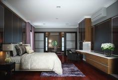 Diseño del dormitorio, interior del estilo contemporáneo moderno ilustración del vector