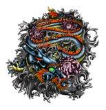 Diseño del dragón del estilo de Japón Fotografía de archivo libre de regalías