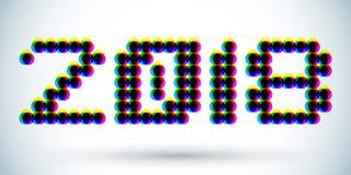 diseño del efecto del anáglifo 2018 3D, ejemplo punteado de los números Fotografía de archivo libre de regalías