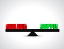 Diseño del ejemplo de la balanza de oferta y demanda Fotografía de archivo libre de regalías