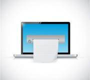 Diseño del ejemplo de la impresora de la pantalla del ordenador portátil Foto de archivo