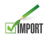 diseño del ejemplo de la marca de verificación de la importación Fotografía de archivo libre de regalías