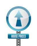 Diseño del ejemplo de la señal de tráfico de los precios de la vivienda Imagen de archivo libre de regalías