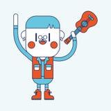 Diseño del ejemplo del carácter Muchacho que juega la historieta de la guitarra, EPS Fotografía de archivo libre de regalías