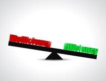 Diseño del ejemplo del concepto de la balanza de la eficacia Imagen de archivo