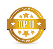 Diseño del ejemplo del sello del sello del top 10 Fotografía de archivo libre de regalías