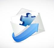 Diseño del ejemplo del sobre del pedazo del rompecabezas Imagenes de archivo