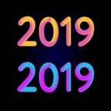 2019 diseño del ejemplo del vector de la bandera de la tarjeta del Año Nuevo 3D stock de ilustración