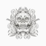 Diseño del ejemplo del vector de la decoración del cráneo stock de ilustración