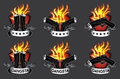 Diseño del elemento del fuego del glock de la pistola de la arma de mano Imagenes de archivo