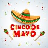 Diseño del emblema de Cinco de Mayo con las letras, el sombrero y los maracas - símbolos del día de fiesta Ilustración aislada de