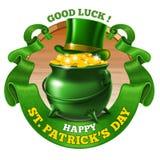 Diseño del emblema del día de Patricks del santo stock de ilustración