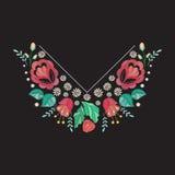 Diseño del escote del bordado del vector Estampado de flores coloreado para la impresión del cuello con las flores y las hojas bo stock de ilustración