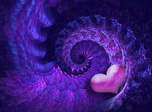 Diseño del espiral de la tarjeta del día de San Valentín Fotografía de archivo