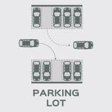 Diseño del estacionamiento de la visión superior Foto de archivo