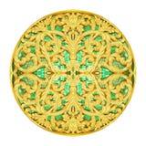 Diseño del estuco del oro de flor tailandesa nativa de la antigüedad del estilo Fotos de archivo libres de regalías
