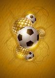 Diseño del extracto del fútbol del oro Imagenes de archivo