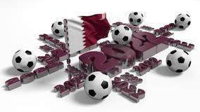 Diseño del fútbol 2022 con la bandera y las bolas de Qatar ilustración del vector