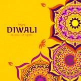 Diseño del festival de la luz de Diwali Tarjeta de felicitación hindú del festival de Diwali foto de archivo