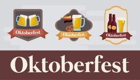 Diseño del festival de Oktoberfest con el ilustration del vectot del icono Imagen de archivo