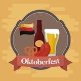 Diseño del festival de Oktoberfest con el ilustration del vectot del icono Fotos de archivo
