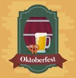Diseño del festival de Oktoberfest con el ilustration del vectot del icono Imágenes de archivo libres de regalías