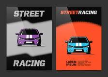 Diseño del folleto con el icono del coche de competición de la calle Fotos de archivo libres de regalías