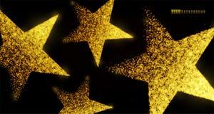 Diseño del fondo de la estrella con las partículas que brillan intensamente aisladas en el contexto del negro oscuro Las formas d