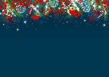 Diseño del fondo de la Navidad de hojas y de baya del pino con nieve Foto de archivo libre de regalías