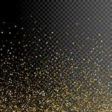 Diseño del fondo de la tarjeta de felicitación de la chispa Decoración del oro del brillo en transparente ilustración del vector