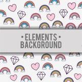 Diseño del fondo de los diamantes de los corazones de los arco iris de las nubes Fotos de archivo libres de regalías