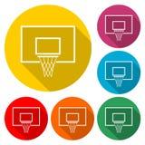 Diseño del icono del baloncesto, icono del color con la sombra larga Imagen de archivo libre de regalías