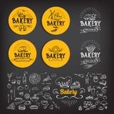Diseño del icono de la panadería Vintage de la insignia del menú Foto de archivo libre de regalías
