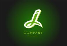 Diseño del icono del vector de la compañía del verde 3d del logotipo de la letra del alfabeto de J Fotografía de archivo libre de regalías